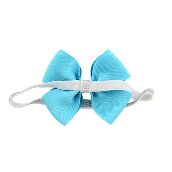 Dark blue hair bow with elatic band