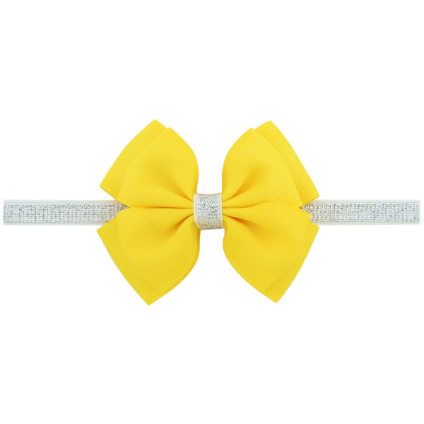 yellow hair bow with elastic band